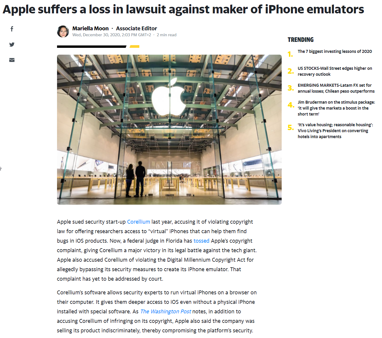 Apple suffers a loss in lawsuit against maker of iPhone emulators