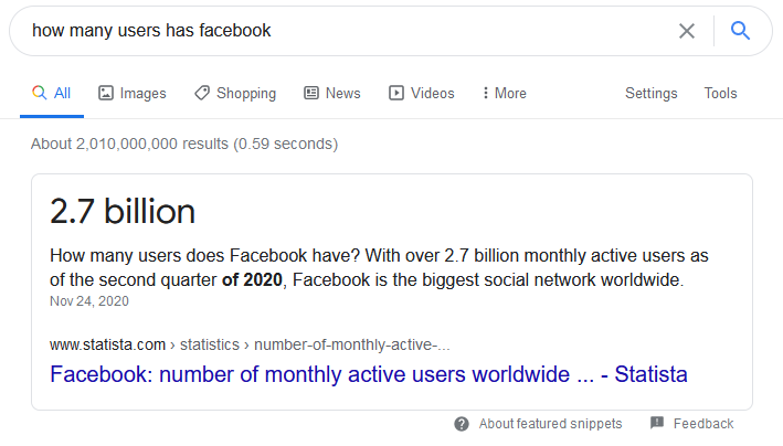 how many user has facebok - Google Search