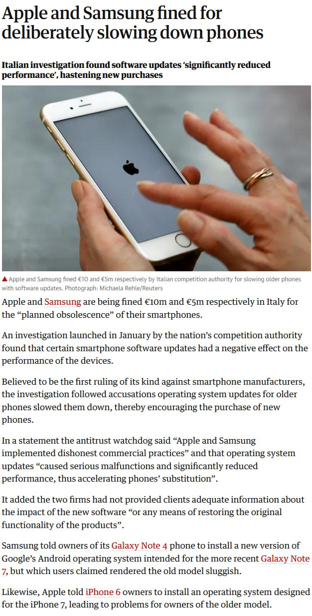 Apple and Samsung fined for deliberately slowing down phones _ Apple _ The Guard
