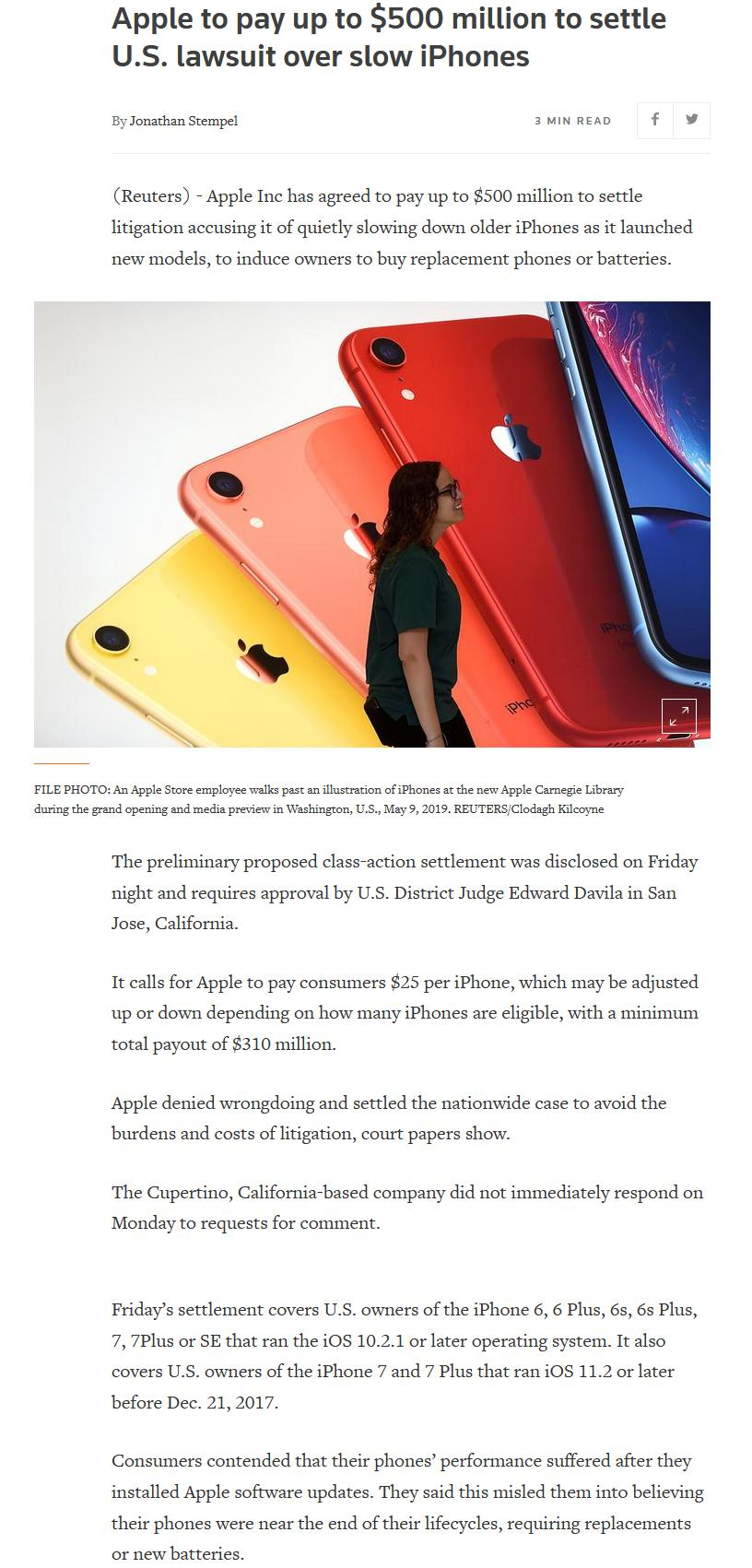 Apple to pay up to $500 million to settle U.S. lawsuit over slow iPhones _ Reute