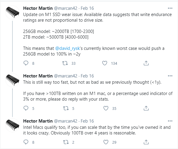 Hector Martin on Twitter_ _Update on M1 SSD wear issue_ Available data suggests