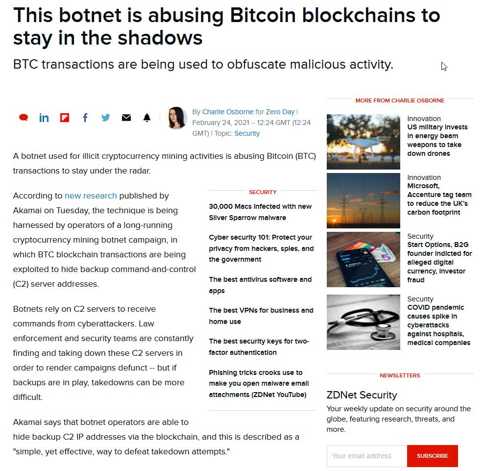 This botnet is abusing Bitcoin blockchains to stay in the shadows _ ZDNet