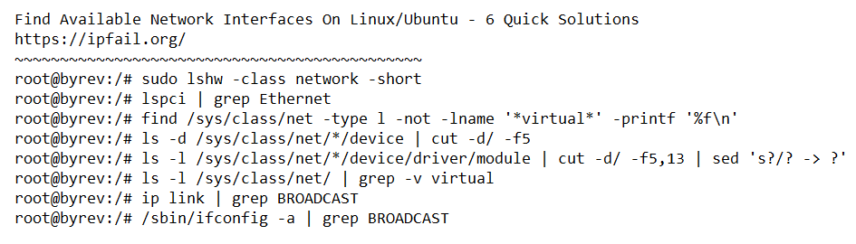 Available Network Interfaces On Linux/Ubuntu - 6 Quick Solutions